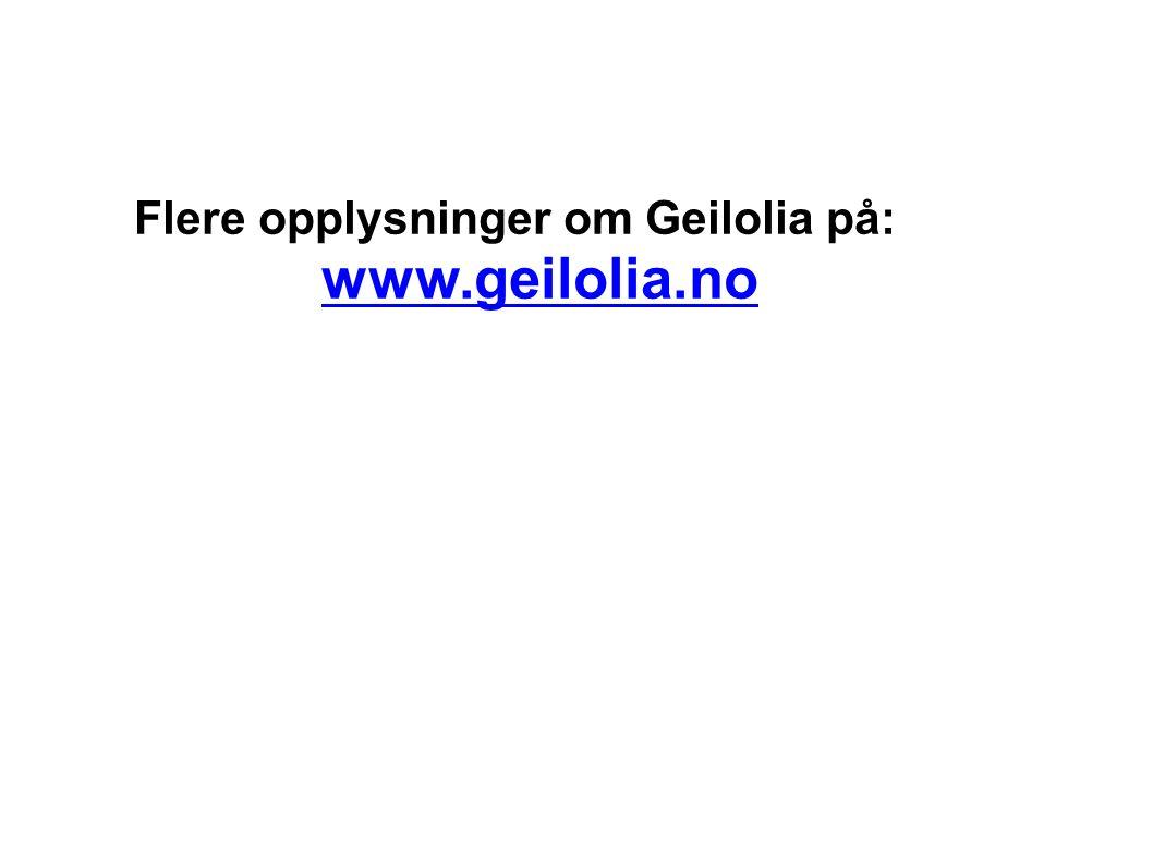 Flere opplysninger om Geilolia på: www.geilolia.no