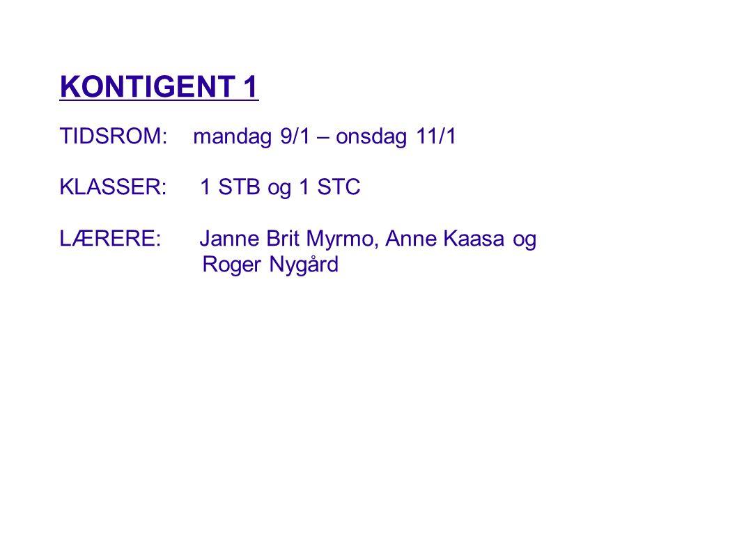 KONTIGENT 1 TIDSROM: mandag 9/1 – onsdag 11/1 KLASSER: 1 STB og 1 STC LÆRERE: Janne Brit Myrmo, Anne Kaasa og Roger Nygård