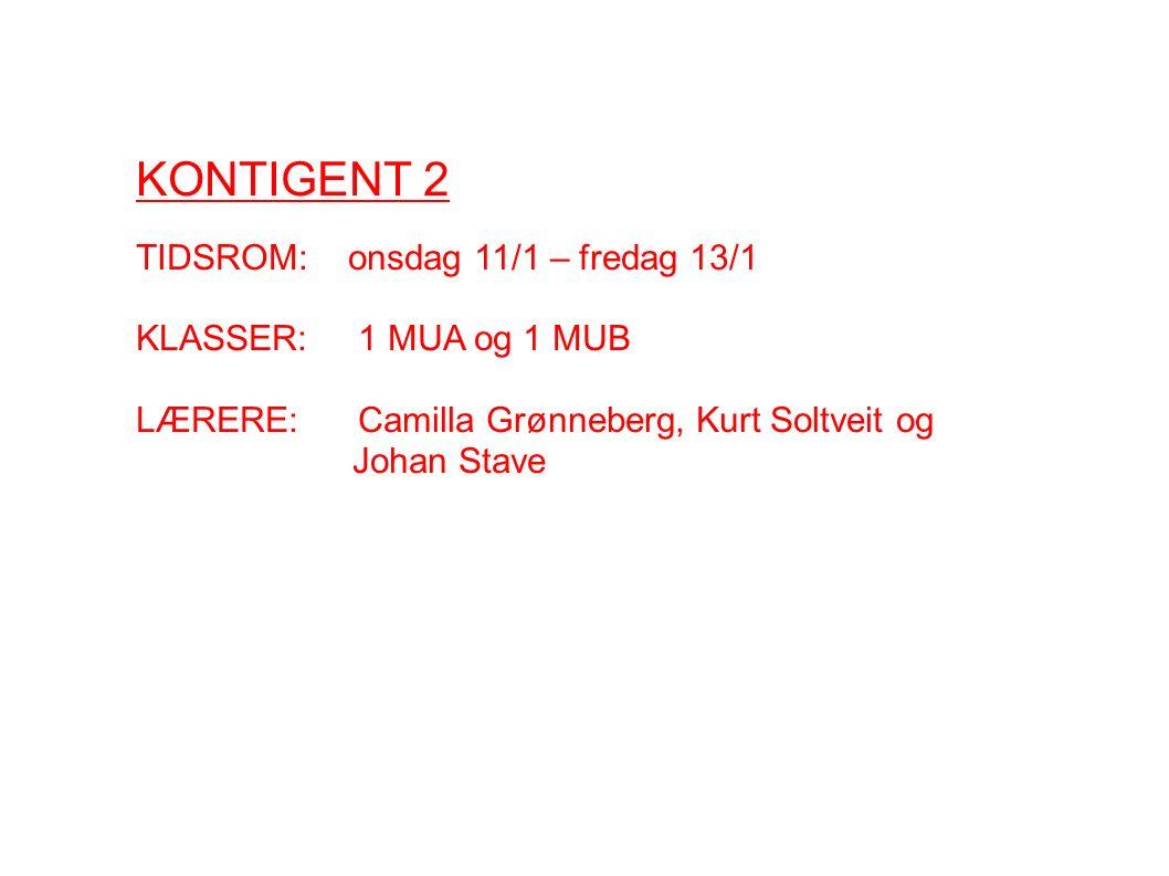 KONTIGENT 2 TIDSROM: onsdag 11/1 – fredag 13/1 KLASSER: 1 MUA og 1 MUB LÆRERE: Camilla Grønneberg, Kurt Soltveit og Johan Stave