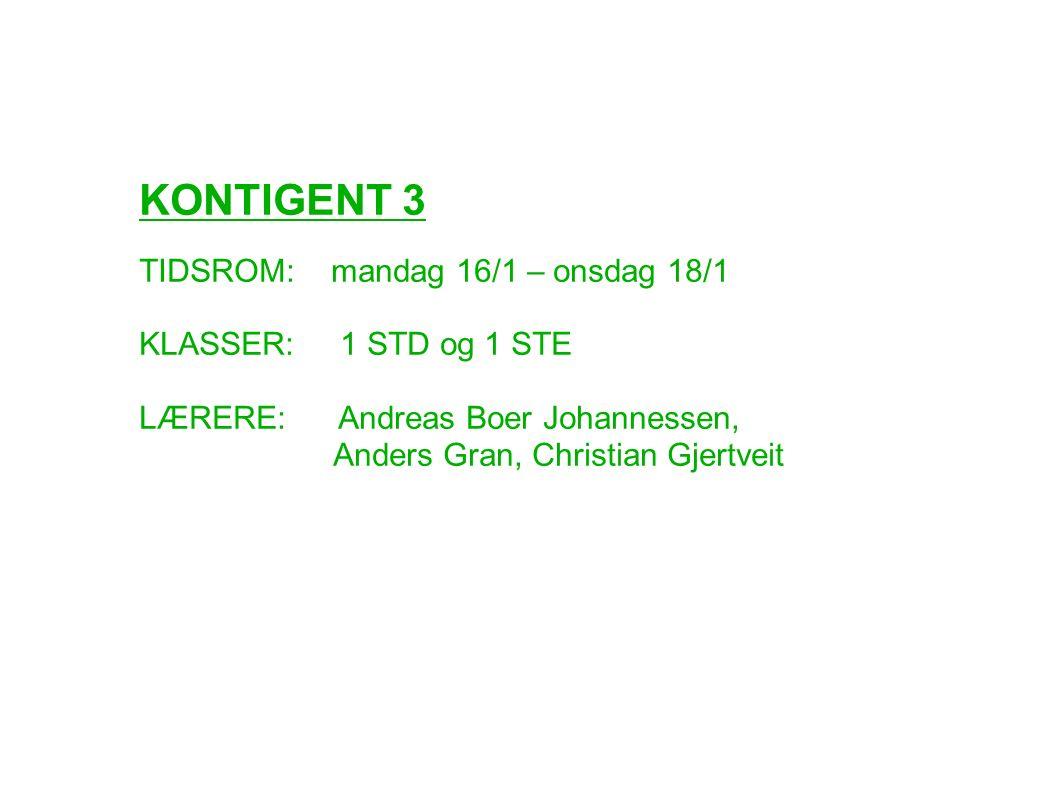 KONTIGENT 3 TIDSROM: mandag 16/1 – onsdag 18/1 KLASSER: 1 STD og 1 STE LÆRERE: Andreas Boer Johannessen, Anders Gran, Christian Gjertveit
