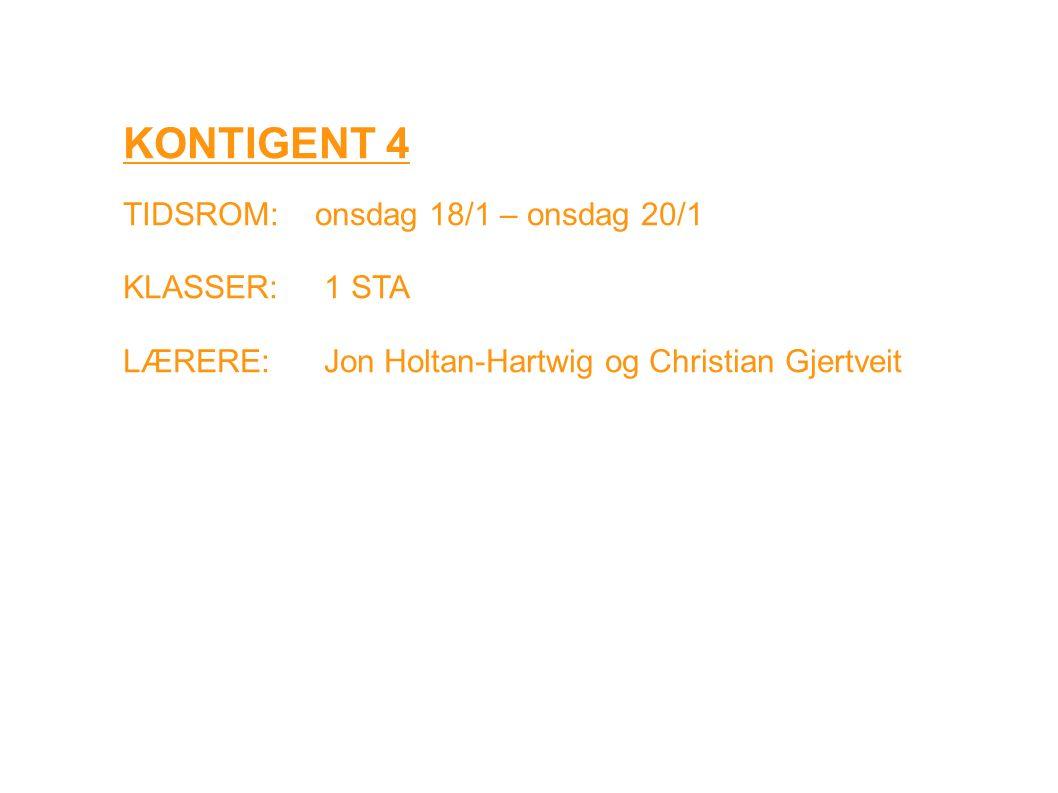 KONTIGENT 4 TIDSROM: onsdag 18/1 – onsdag 20/1 KLASSER: 1 STA LÆRERE: Jon Holtan-Hartwig og Christian Gjertveit