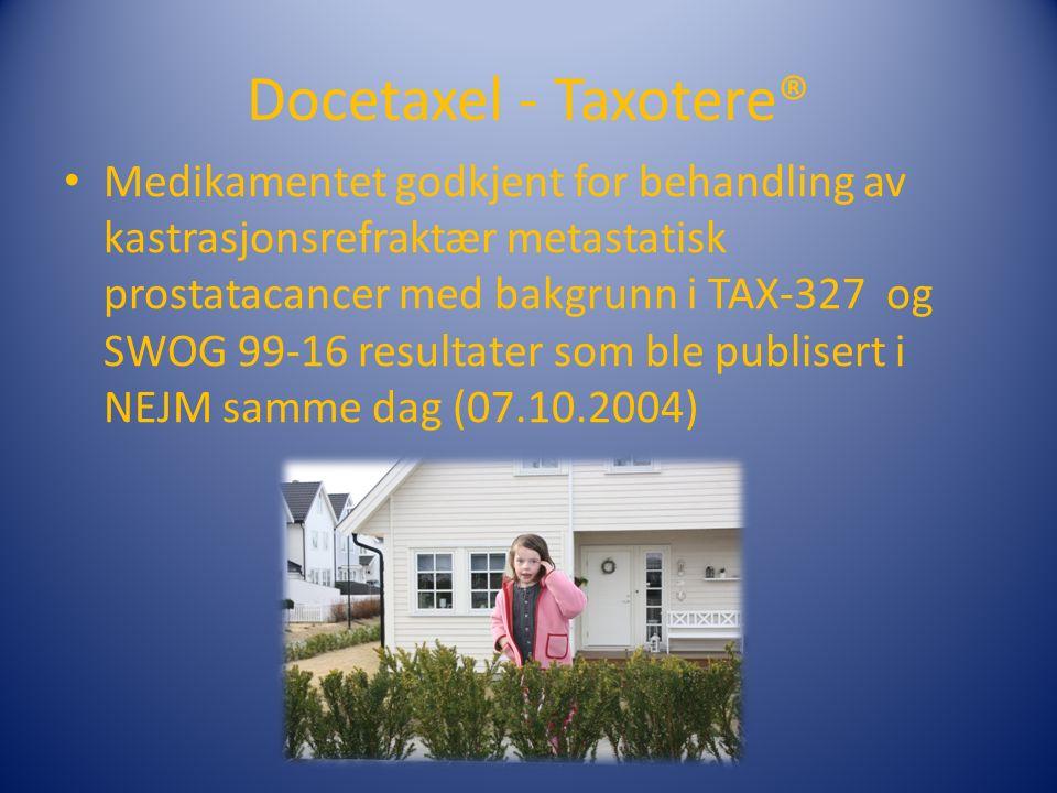 Docetaxel - Taxotere® Medikamentet godkjent for behandling av kastrasjonsrefraktær metastatisk prostatacancer med bakgrunn i TAX-327 og SWOG 99-16 resultater som ble publisert i NEJM samme dag (07.10.2004)