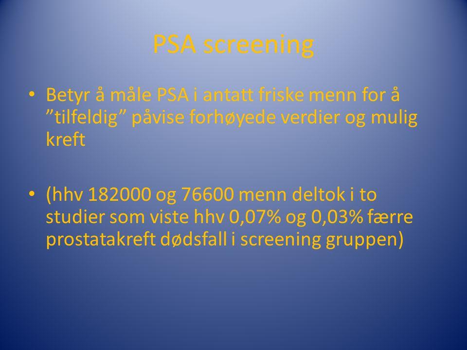 PSA screening Betyr å måle PSA i antatt friske menn for å tilfeldig påvise forhøyede verdier og mulig kreft (hhv 182000 og 76600 menn deltok i to studier som viste hhv 0,07% og 0,03% færre prostatakreft dødsfall i screening gruppen)