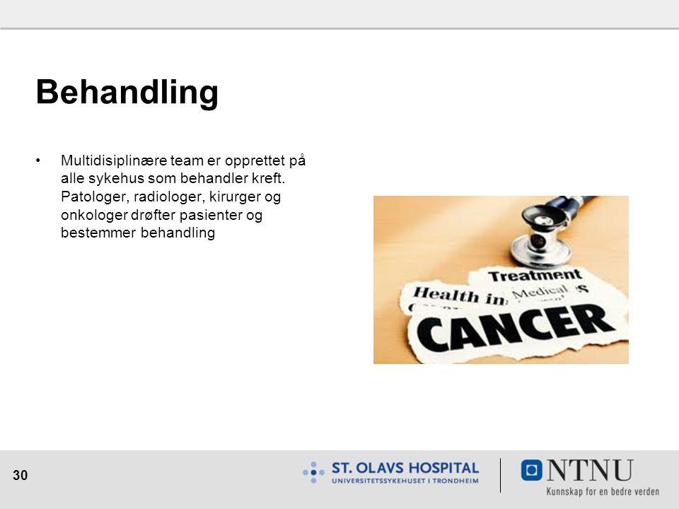 30 Behandling Multidisiplinære team er opprettet på alle sykehus som behandler kreft. Patologer, radiologer, kirurger og onkologer drøfter pasienter o