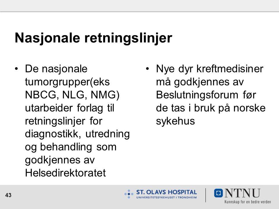 43 Nasjonale retningslinjer De nasjonale tumorgrupper(eks NBCG, NLG, NMG) utarbeider forlag til retningslinjer for diagnostikk, utredning og behandling som godkjennes av Helsedirektoratet Nye dyr kreftmedisiner må godkjennes av Beslutningsforum før de tas i bruk på norske sykehus