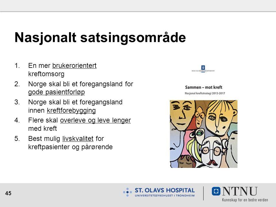 45 Nasjonalt satsingsområde 1.En mer brukerorientert kreftomsorg 2.Norge skal bli et foregangsland for gode pasientforløp 3.Norge skal bli et foregang