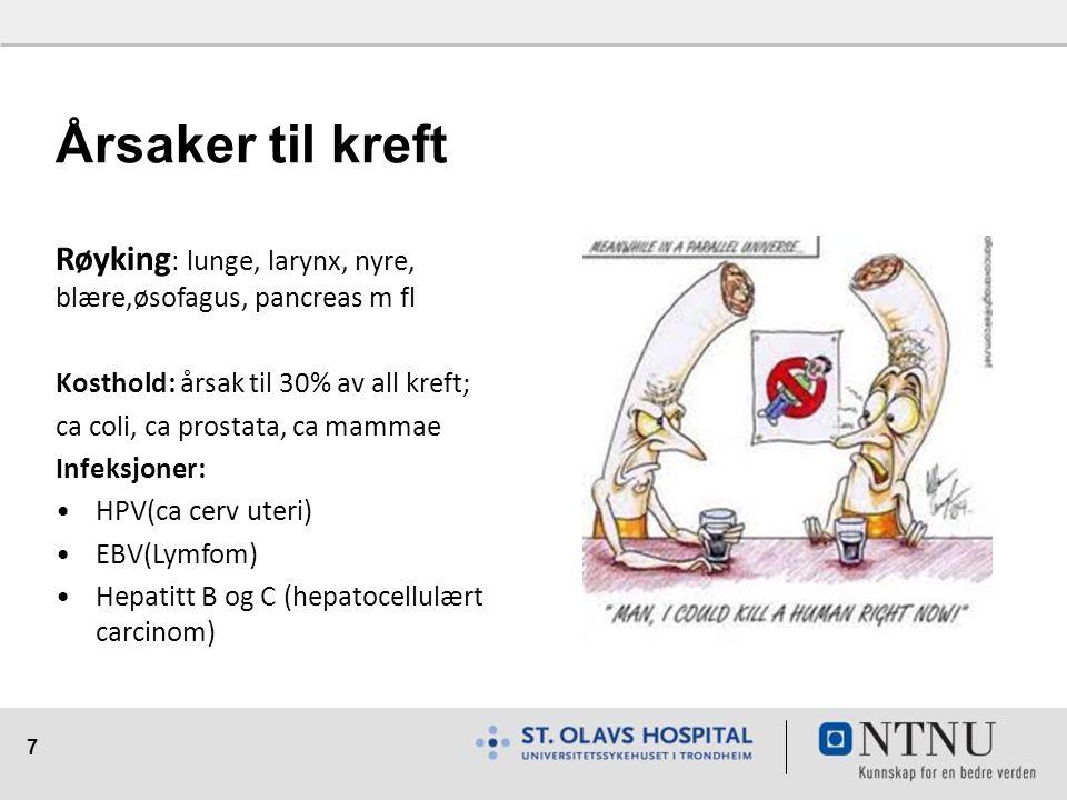 7 Årsaker til kreft Røyking : lunge, larynx, nyre, blære,øsofagus, pancreas m fl Kosthold: årsak til 30% av all kreft; ca coli, ca prostata, ca mammae