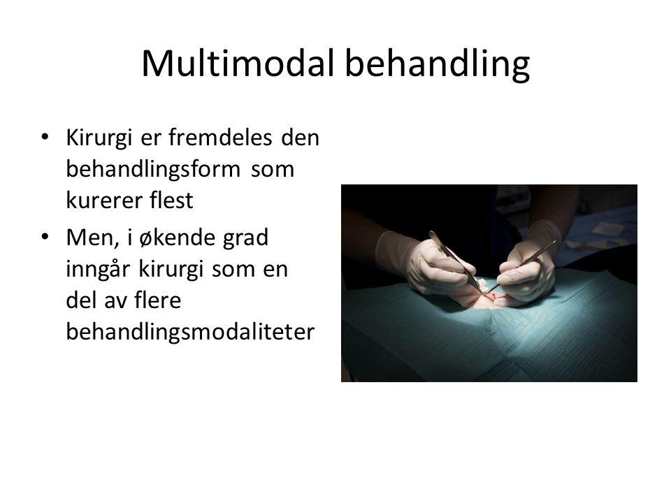 Multimodal behandling Kirurgi er fremdeles den behandlingsform som kurerer flest Men, i økende grad inngår kirurgi som en del av flere behandlingsmoda