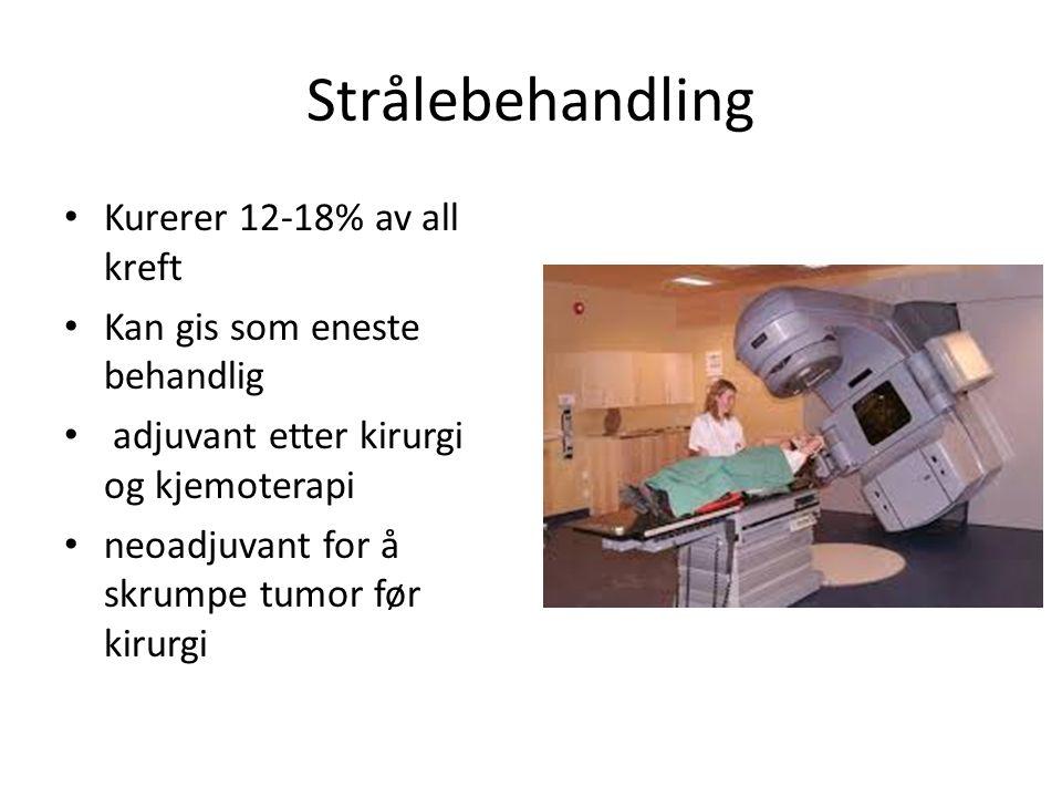 Strålebehandling Kurerer 12-18% av all kreft Kan gis som eneste behandlig adjuvant etter kirurgi og kjemoterapi neoadjuvant for å skrumpe tumor før ki