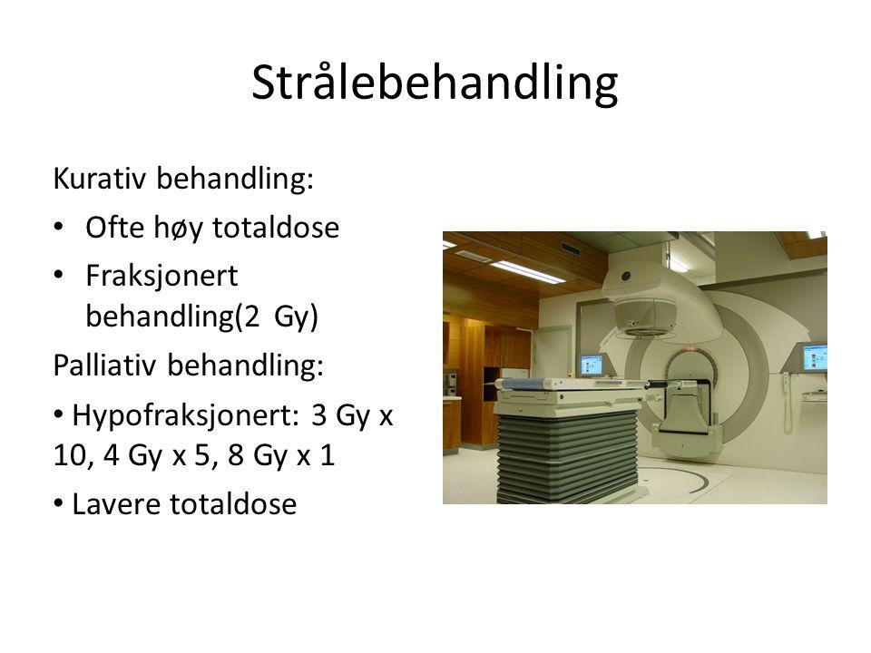 Strålebehandling Kurativ behandling: Ofte høy totaldose Fraksjonert behandling(2 Gy) Palliativ behandling: Hypofraksjonert: 3 Gy x 10, 4 Gy x 5, 8 Gy x 1 Lavere totaldose