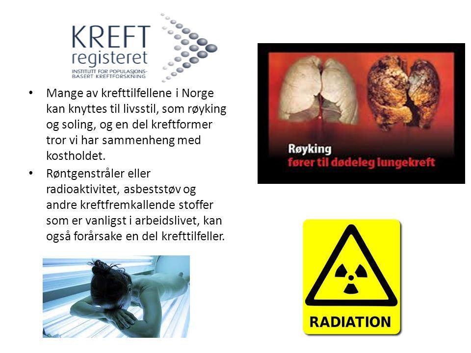 Mange av krefttilfellene i Norge kan knyttes til livsstil, som røyking og soling, og en del kreftformer tror vi har sammenheng med kostholdet. Røntgen