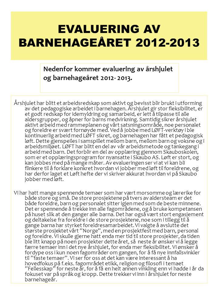 EVALUERING AV BARNEHAGEÅRET 2012-2013 Årshjulet har blitt et arbeidsredskap som aktivt og bevisst blir brukt i utforming av det pedagogiske arbeidet i