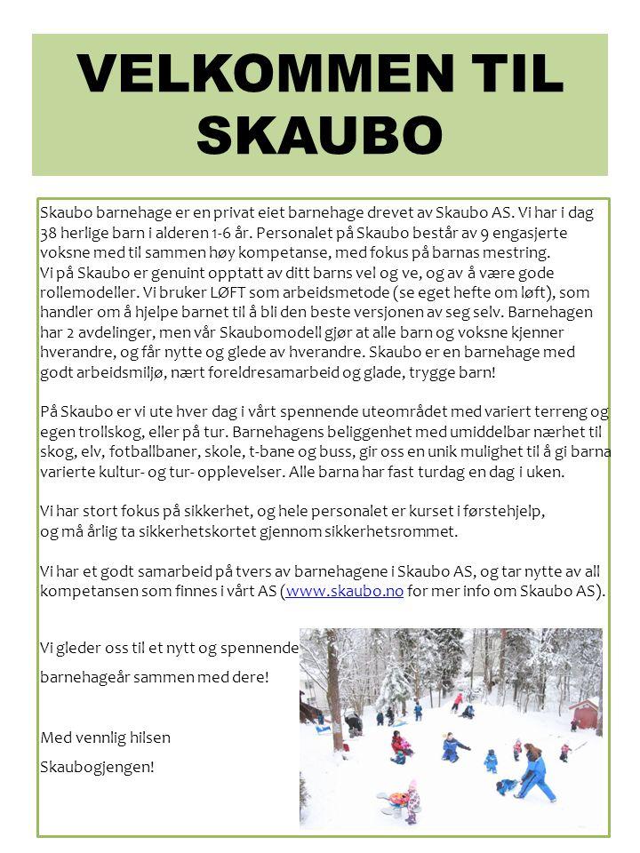 VELKOMMEN TIL SKAUBO Skaubo barnehage er en privat eiet barnehage drevet av Skaubo AS. Vi har i dag 38 herlige barn i alderen 1-6 år. Personalet på Sk