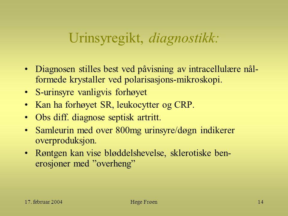 17. februar 2004Hege Frøen14 Urinsyregikt, diagnostikk: Diagnosen stilles best ved påvisning av intracellulære nål- formede krystaller ved polarisasjo