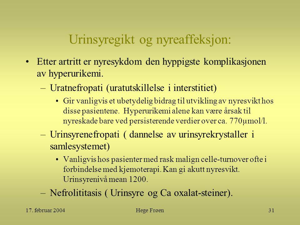17. februar 2004Hege Frøen31 Urinsyregikt og nyreaffeksjon: Etter artritt er nyresykdom den hyppigste komplikasjonen av hyperurikemi. –Uratnefropati (
