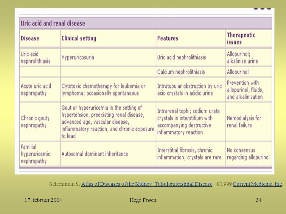 17. februar 2004Hege Frøen34 Scheinman S. Atlas of Diseases of the Kidney: Tubulointerstitial Disease. ©1999 Current Medicine, Inc.Atlas of Diseases o