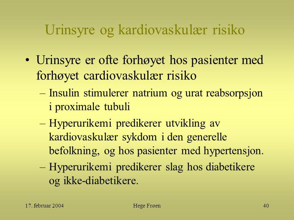 17. februar 2004Hege Frøen40 Urinsyre og kardiovaskulær risiko Urinsyre er ofte forhøyet hos pasienter med forhøyet cardiovaskulær risiko –Insulin sti