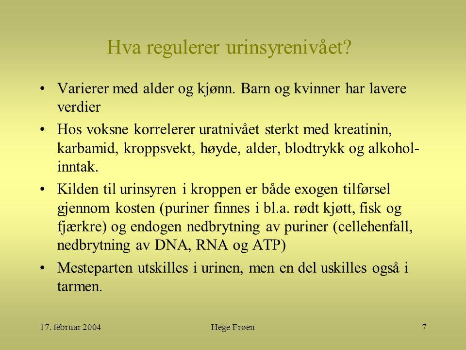 17. februar 2004Hege Frøen7 Hva regulerer urinsyrenivået? Varierer med alder og kjønn. Barn og kvinner har lavere verdier Hos voksne korrelerer uratni