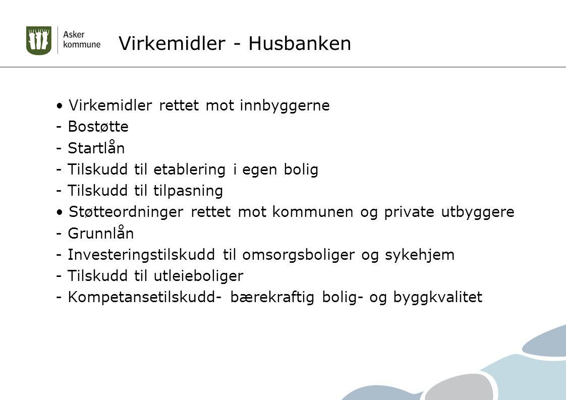 Virkemidler - Husbanken Virkemidler rettet mot innbyggerne - Bostøtte - Startlån - Tilskudd til etablering i egen bolig - Tilskudd til tilpasning Støtteordninger rettet mot kommunen og private utbyggere - Grunnlån - Investeringstilskudd til omsorgsboliger og sykehjem - Tilskudd til utleieboliger - Kompetansetilskudd- bærekraftig bolig- og byggkvalitet
