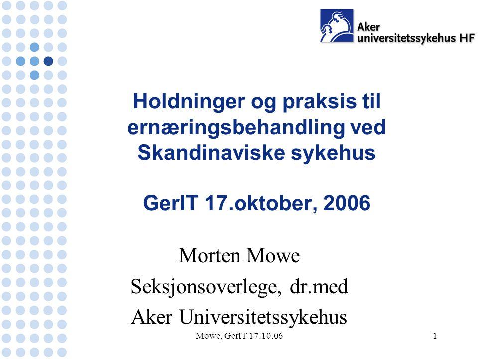 Mowe, GerIT 17.10.061 Holdninger og praksis til ernæringsbehandling ved Skandinaviske sykehus GerIT 17.oktober, 2006 Morten Mowe Seksjonsoverlege, dr.med Aker Universitetssykehus