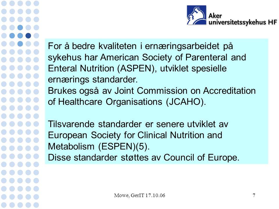 Mowe, GerIT 17.10.067 For å bedre kvaliteten i ernæringsarbeidet på sykehus har American Society of Parenteral and Enteral Nutrition (ASPEN), utviklet spesielle ernærings standarder.