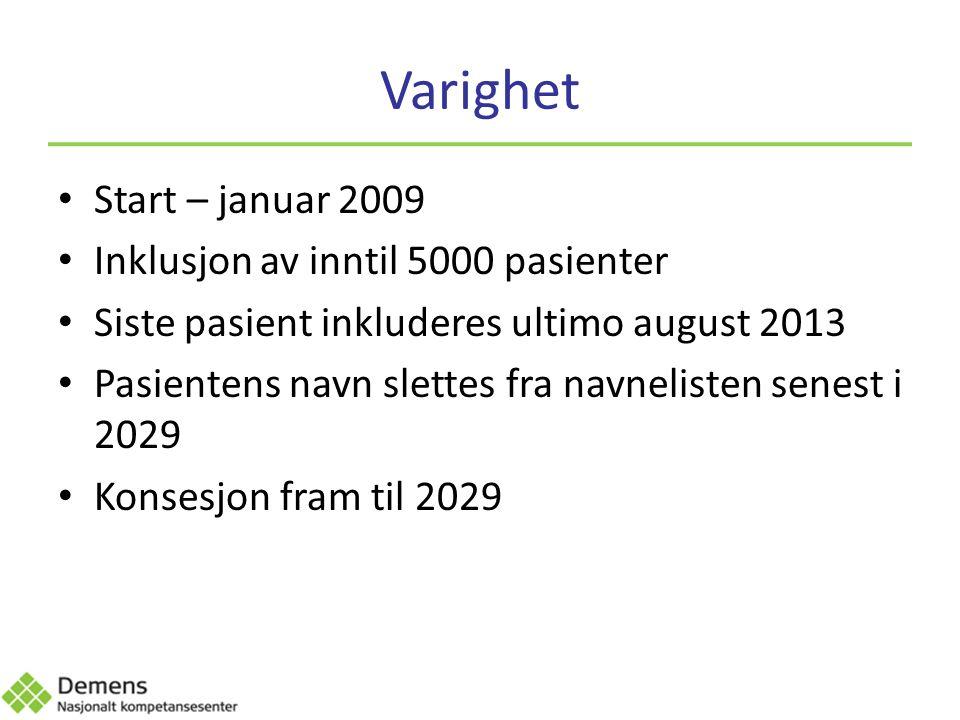 Varighet Start – januar 2009 Inklusjon av inntil 5000 pasienter Siste pasient inkluderes ultimo august 2013 Pasientens navn slettes fra navnelisten senest i 2029 Konsesjon fram til 2029