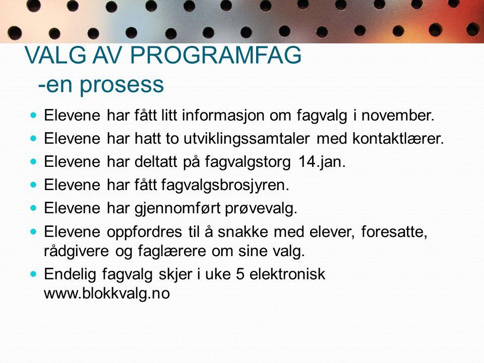 VALG AV PROGRAMFAG -en prosess Elevene har fått litt informasjon om fagvalg i november.