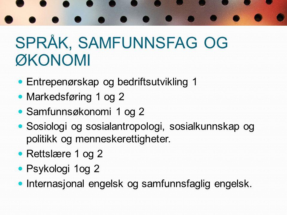 REALFAG-/ SPRÅKPOENG R1, S1, Kjemi 1, Biologi 1, Fysikk 1, Informasjonsteknologi 1 0,5 p.
