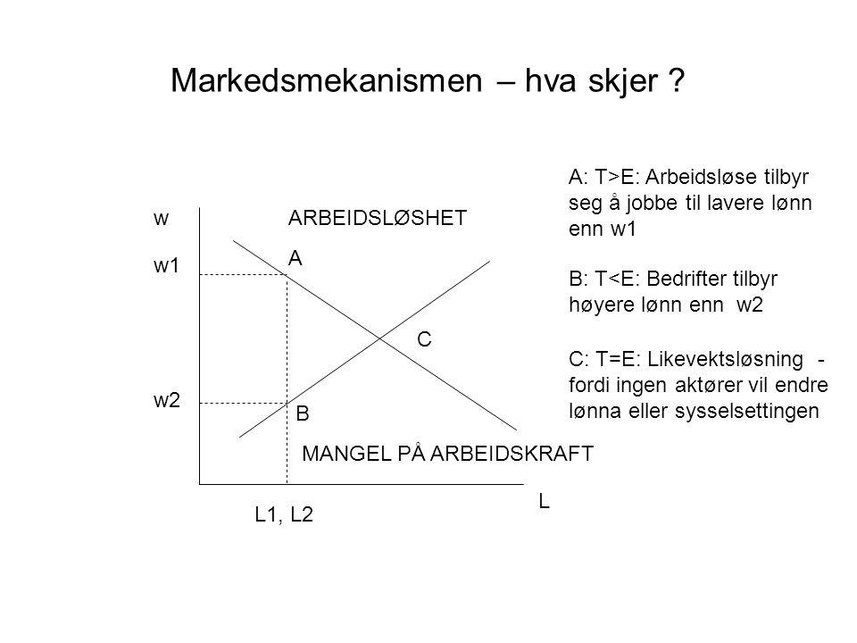 Markedsmekanismen – hva skjer ? w L L1, L2 w1 A: T>E: Arbeidsløse tilbyr seg å jobbe til lavere lønn enn w1 A w2 B B: T<E: Bedrifter tilbyr høyere løn