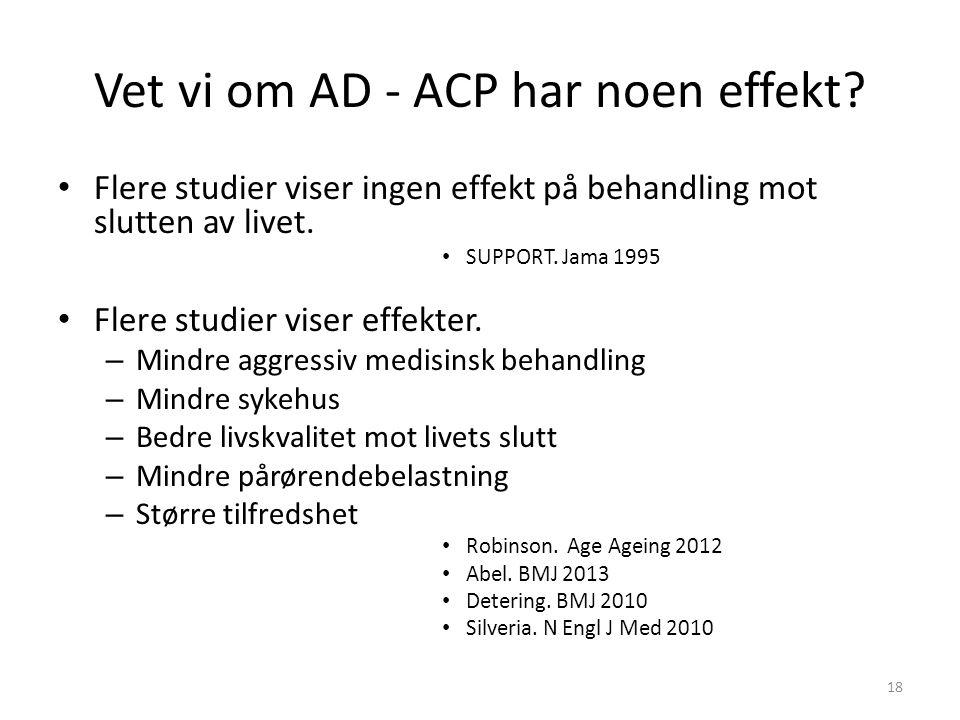 Vet vi om AD - ACP har noen effekt? Flere studier viser ingen effekt på behandling mot slutten av livet. SUPPORT. Jama 1995 Flere studier viser effekt