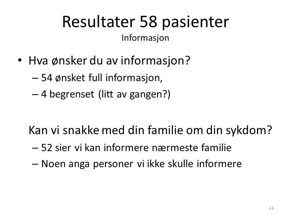 Resultater 58 pasienter Informasjon Hva ønsker du av informasjon? – 54 ønsket full informasjon, – 4 begrenset (litt av gangen?) Kan vi snakke med din