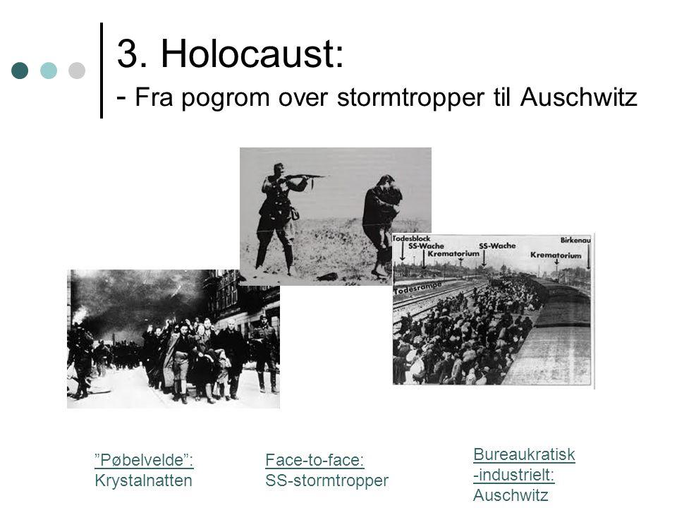 """3. Holocaust: - Fra pogrom over stormtropper til Auschwitz """"Pøbelvelde"""": Krystalnatten Face-to-face: SS-stormtropper Bureaukratisk -industrielt: Ausch"""