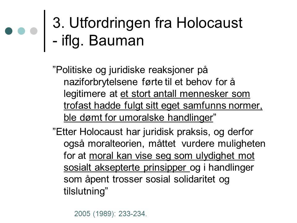 3. Utfordringen fra Holocaust - iflg.
