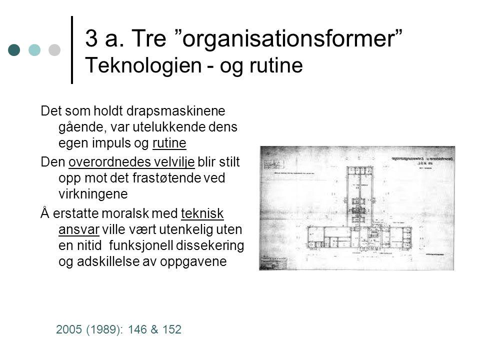 """3 a. Tre """"organisationsformer"""" Teknologien - og rutine Det som holdt drapsmaskinene gående, var utelukkende dens egen impuls og rutine Den overordnede"""