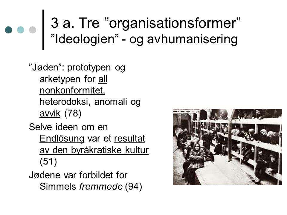 """3 a. Tre """"organisationsformer"""" """"Ideologien"""" - og avhumanisering """"Jøden"""": prototypen og arketypen for all nonkonformitet, heterodoksi, anomali og avvik"""