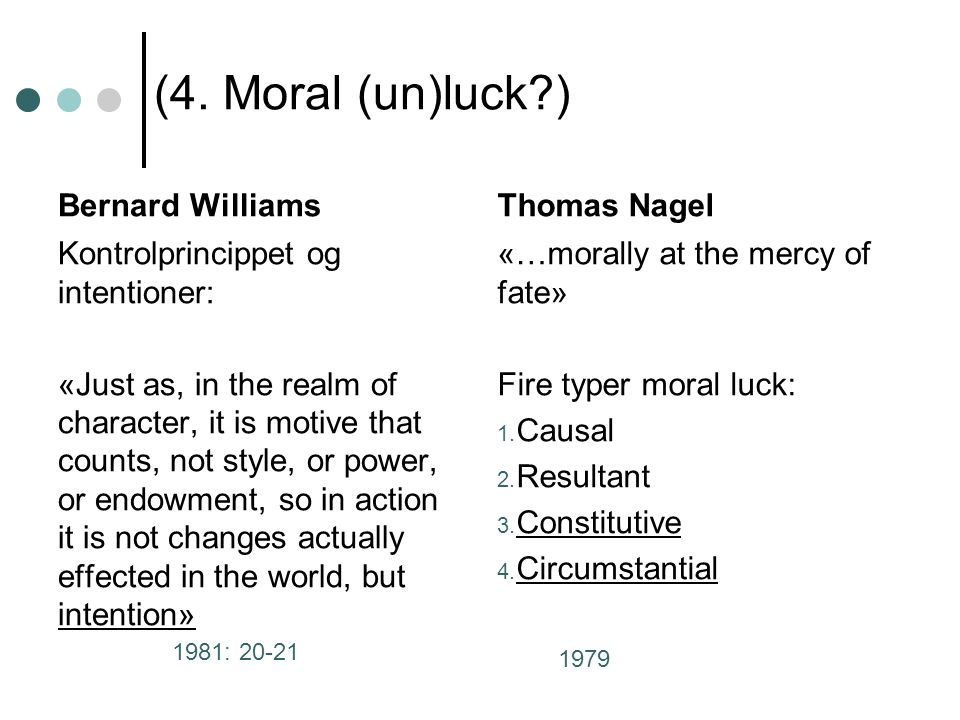 (4. Moral (un)luck?) Bernard Williams Kontrolprincippet og intentioner: «Just as, in the realm of character, it is motive that counts, not style, or p