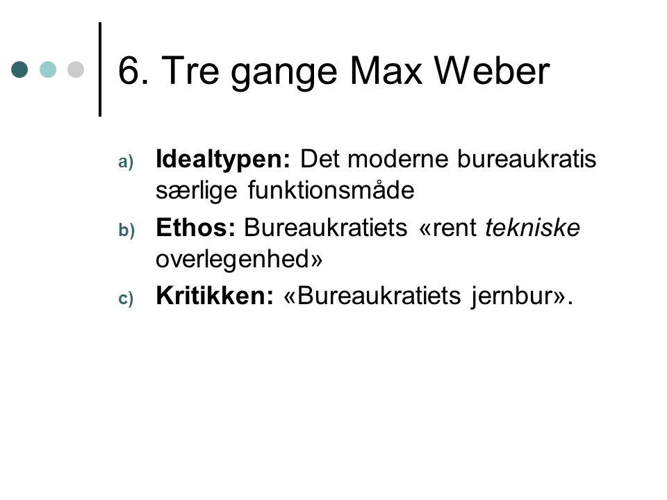 6. Tre gange Max Weber a) Idealtypen: Det moderne bureaukratis særlige funktionsmåde b) Ethos: Bureaukratiets «rent tekniske overlegenhed» c) Kritikke