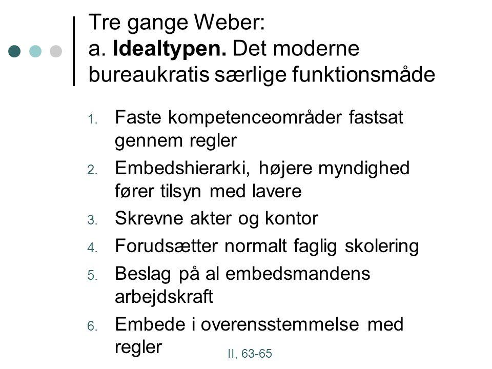 Tre gange Weber: a. Idealtypen. Det moderne bureaukratis særlige funktionsmåde 1.