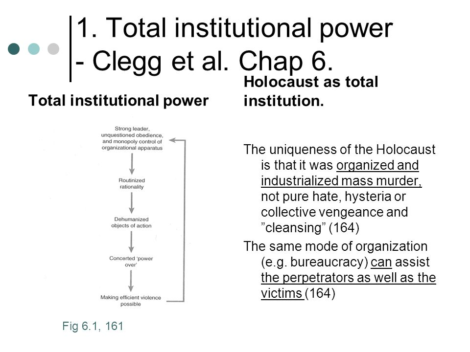 1. Total institutional power - Clegg et al. Chap 6. Total institutional power Holocaust as total institution. The uniqueness of the Holocaust is that