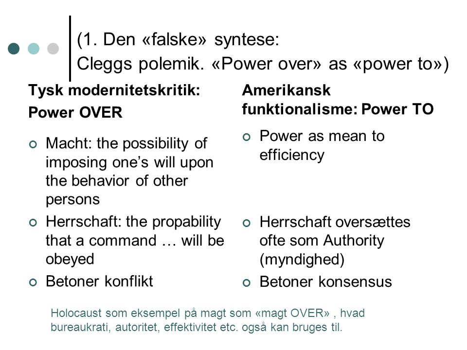 (1. Den «falske» syntese: Cleggs polemik. «Power over» as «power to») Tysk modernitetskritik: Power OVER Macht: the possibility of imposing one's will