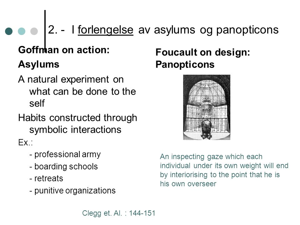2. - I forlengelse av asylums og panopticons Goffman on action: Asylums A natural experiment on what can be done to the self Habits constructed throug