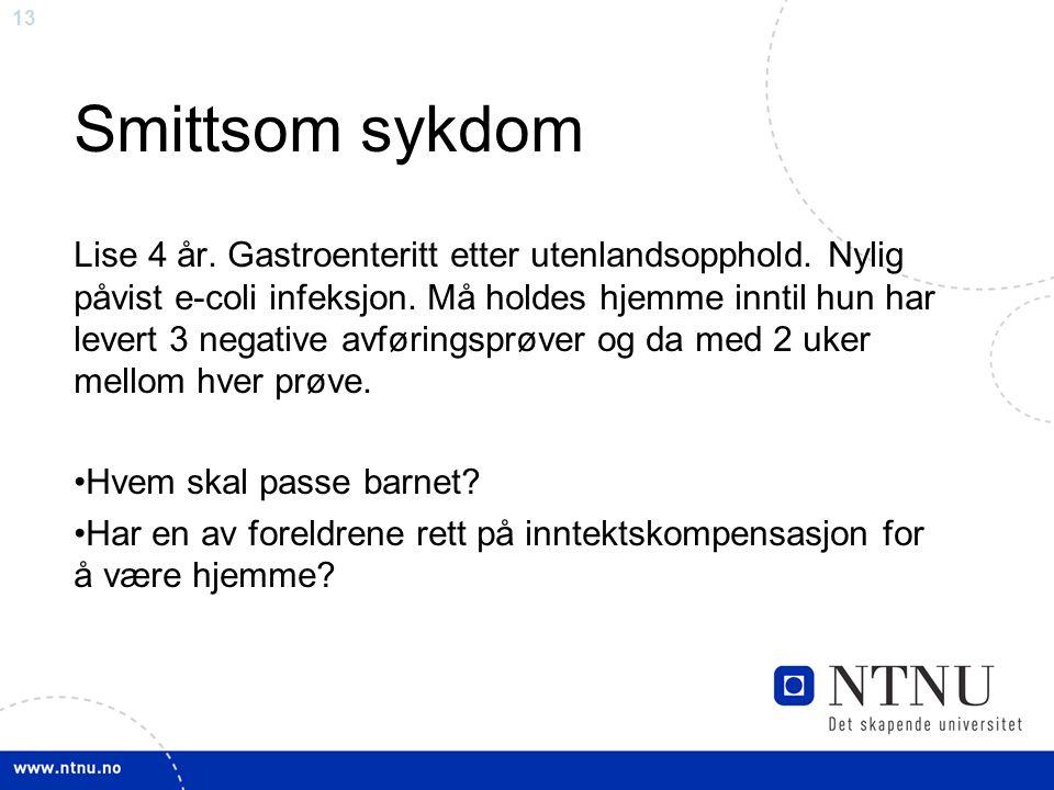 13 Smittsom sykdom Lise 4 år. Gastroenteritt etter utenlandsopphold.