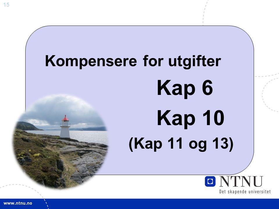 15 Kompensere for utgifter Kap 6 Kap 10 (Kap 11 og 13)