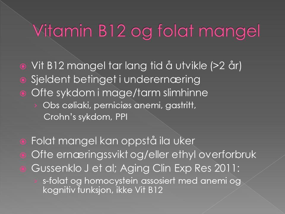  Vit B12 mangel tar lang tid å utvikle (>2 år)  Sjeldent betinget i underernæring  Ofte sykdom i mage/tarm slimhinne › Obs cøliaki, perniciøs anemi, gastritt, Crohn's sykdom, PPI  Folat mangel kan oppstå ila uker  Ofte ernæringssvikt og/eller ethyl overforbruk  Gussenklo J et al; Aging Clin Exp Res 2011: › s-folat og homocystein assosiert med anemi og kognitiv funksjon, ikke Vit B12