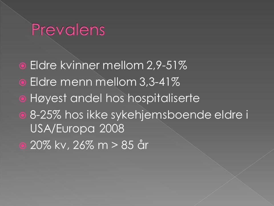  Eldre kvinner mellom 2,9-51%  Eldre menn mellom 3,3-41%  Høyest andel hos hospitaliserte  8-25% hos ikke sykehjemsboende eldre i USA/Europa 2008  20% kv, 26% m > 85 år