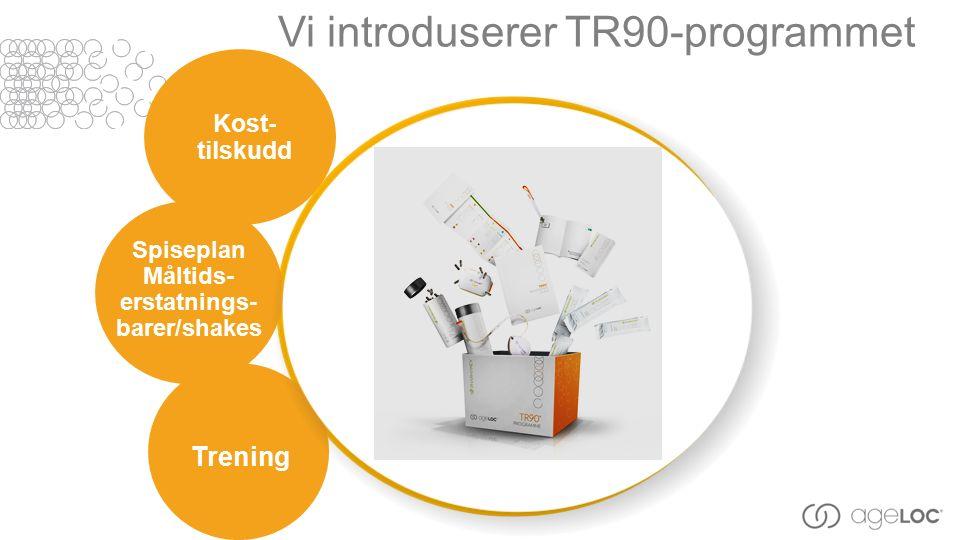 Vi introduserer TR90-programmet Spiseplan Måltids- erstatnings- barer/shakes Kost- tilskudd Trening