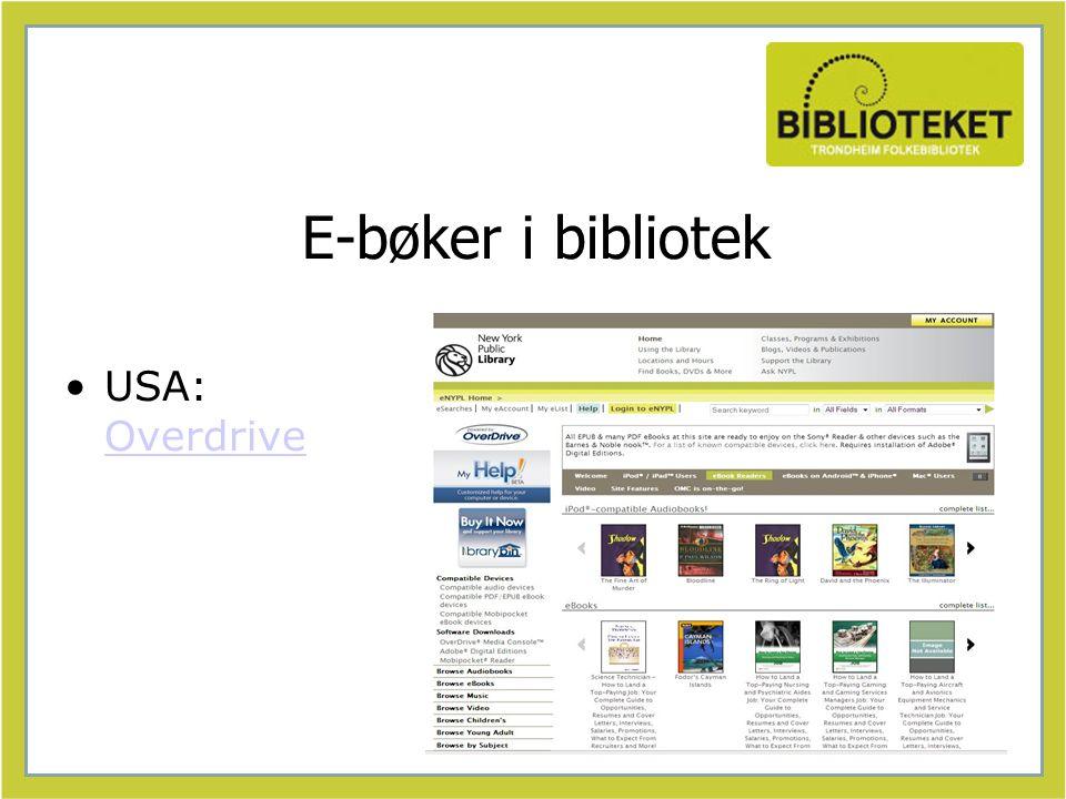 E-bøker i bibliotek USA: Overdrive Overdrive