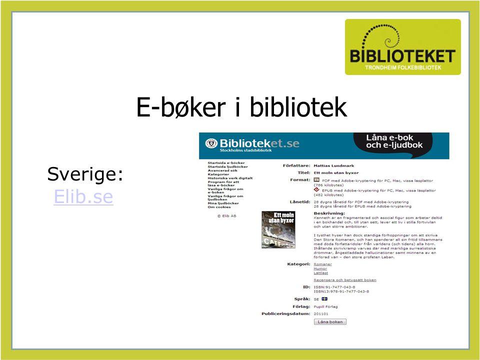 E-bøker i bibliotek Sverige: Elib.seElib.se
