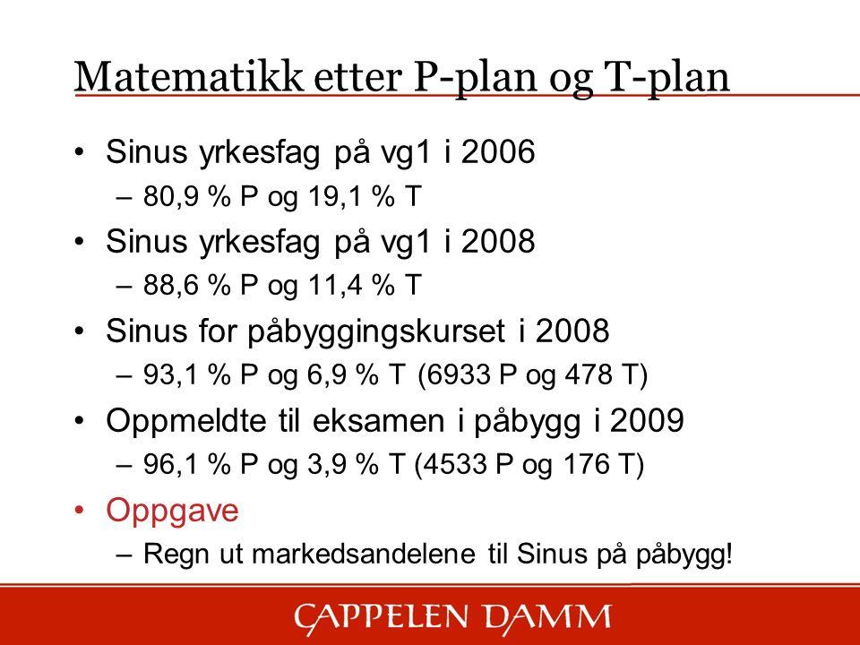 Matematikk etter P-plan og T-plan Sinus yrkesfag på vg1 i 2006 –80,9 % P og 19,1 % T Sinus yrkesfag på vg1 i 2008 –88,6 % P og 11,4 % T Sinus for påbyggingskurset i 2008 –93,1 % P og 6,9 % T (6933 P og 478 T) Oppmeldte til eksamen i påbygg i 2009 –96,1 % P og 3,9 % T (4533 P og 176 T) Oppgave –Regn ut markedsandelene til Sinus på påbygg!