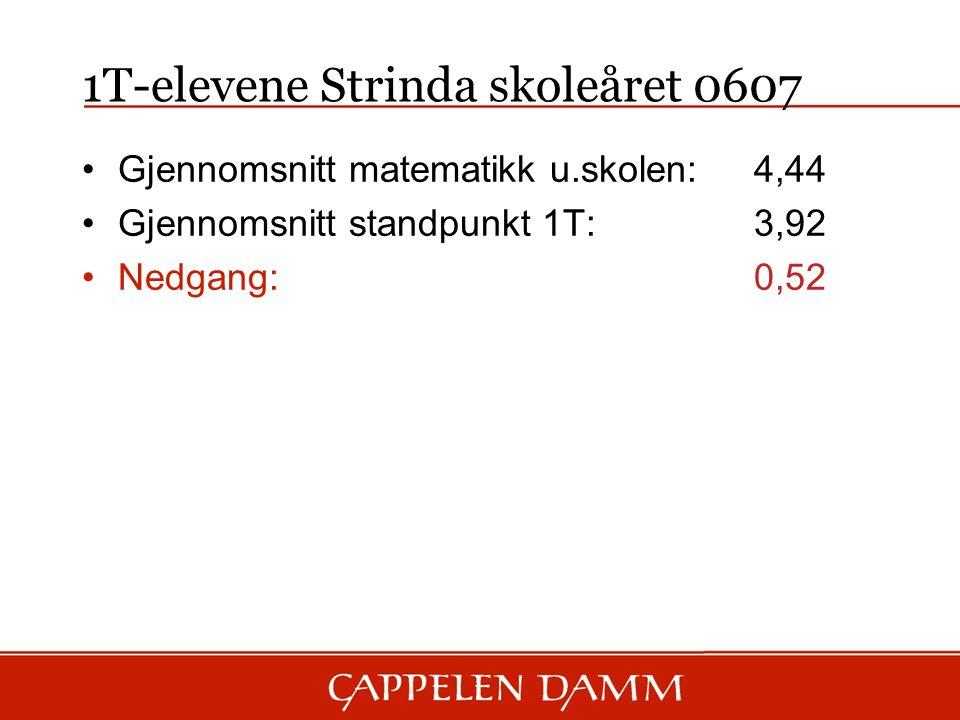 1T-elevene Strinda skoleåret 0607 Gjennomsnitt matematikk u.skolen: 4,44 Gjennomsnitt standpunkt 1T:3,92 Nedgang:0,52